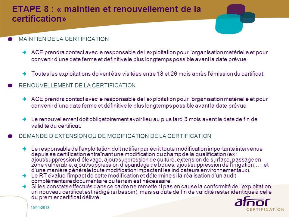 15/11/2012 ETAPE 8 : « maintien et renouvellement de la certification» MAINTIEN DE LA CERTIFICATION ACE prendra contact avec le responsable de lexploi