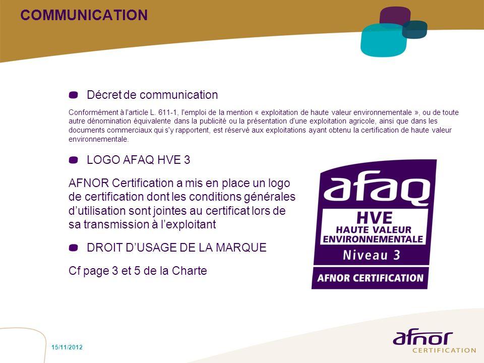COMMUNICATION Décret de communication Conformément à l'article L. 611-1, l'emploi de la mention « exploitation de haute valeur environnementale », ou