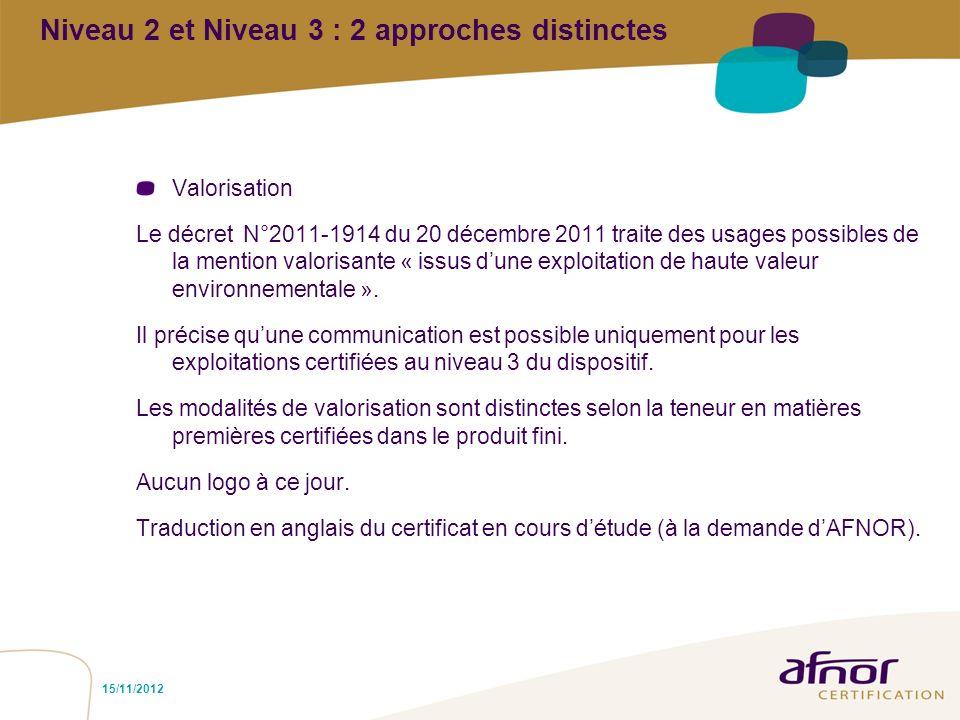 Niveau 2 et Niveau 3 : 2 approches distinctes Valorisation Le décret N°2011-1914 du 20 décembre 2011 traite des usages possibles de la mention valoris
