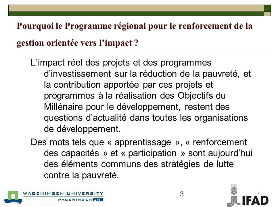 3 3 Pourquoi le Programme régional pour le renforcement de la gestion orientée vers limpact .