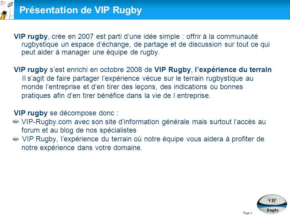 Présentation de VIP RUGBY VIP-Rugby.com VIP Rugby, lexpérience du terrain VIP-Rugby.com VIP Rugby, lexpérience du terrain Objectifs Services Manière de travailler VIP Rugby, composition déquipe Page 5