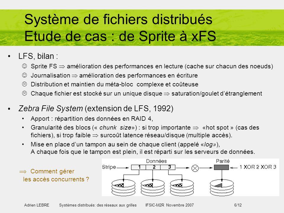 Adrien LEBRE Systèmes distribués: des réseaux aux grilles IFSIC-M2R Novembre 2007 6/12 Système de fichiers distribués Etude de cas : de Sprite à xFS L