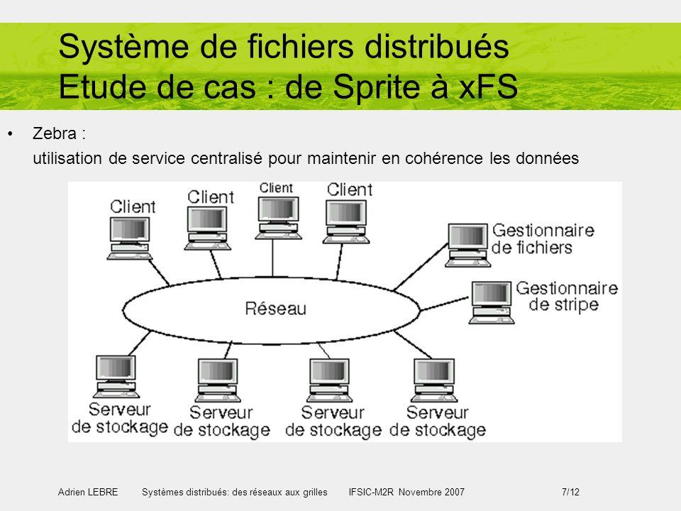 Adrien LEBRE Systèmes distribués: des réseaux aux grilles IFSIC-M2R Novembre 2007 7/12 Système de fichiers distribués Etude de cas : de Sprite à xFS Zebra : utilisation de service centralisé pour maintenir en cohérence les données