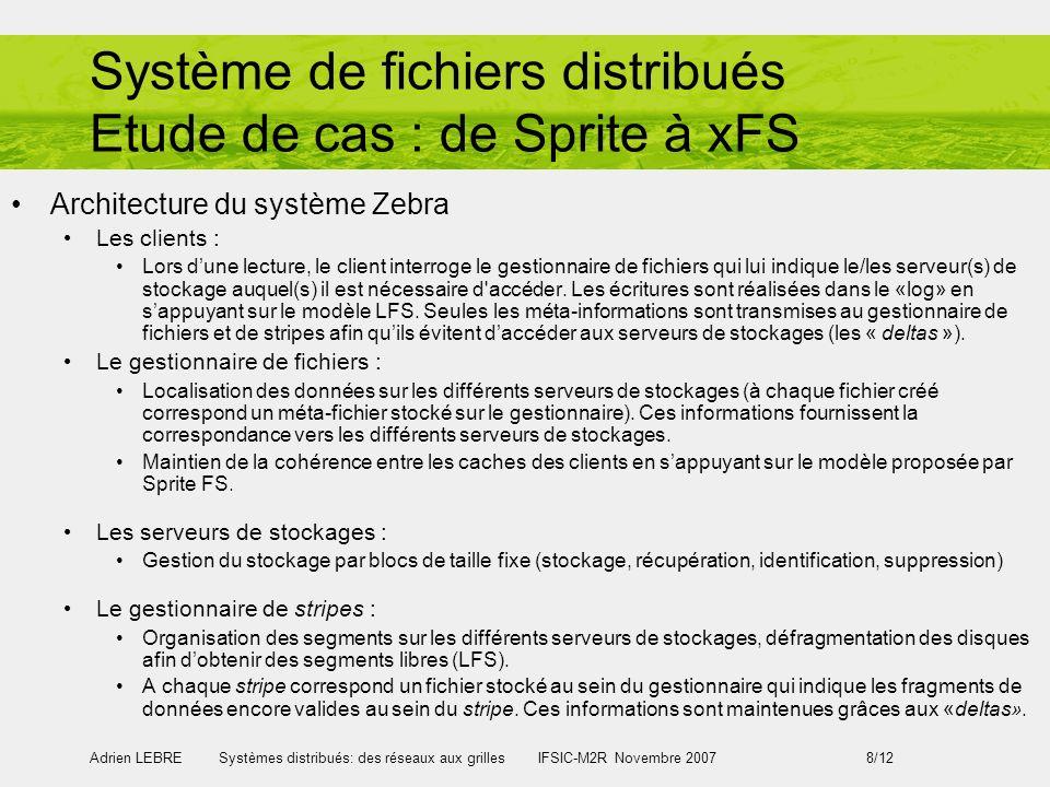 Adrien LEBRE Systèmes distribués: des réseaux aux grilles IFSIC-M2R Novembre 2007 8/12 Système de fichiers distribués Etude de cas : de Sprite à xFS A
