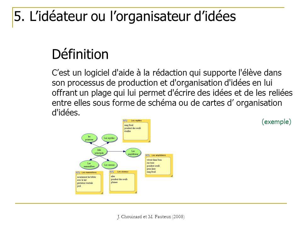 J. Chouinard et M. Fauteux (2008) Définition 5. Lidéateur ou lorganisateur didées Cest un logiciel d'aide à la rédaction qui supporte l'élève dans son