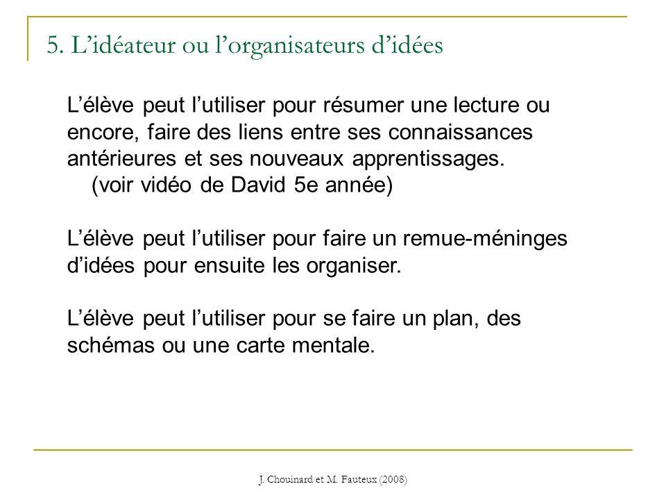 J. Chouinard et M. Fauteux (2008) 5. Lidéateur ou lorganisateurs didées Lélève peut lutiliser pour résumer une lecture ou encore, faire des liens entr