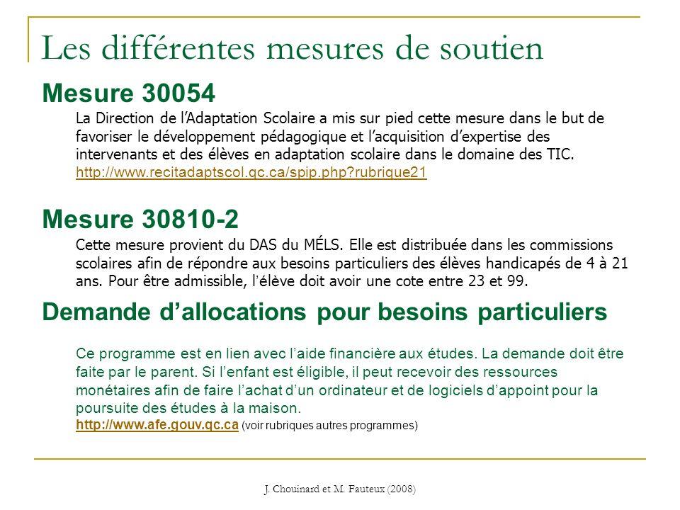 J. Chouinard et M. Fauteux (2008) Les différentes mesures de soutien Mesure 30054 La Direction de lAdaptation Scolaire a mis sur pied cette mesure dan