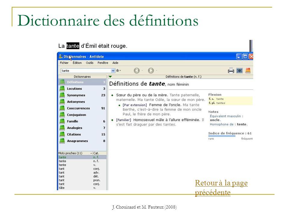 J. Chouinard et M. Fauteux (2008) Dictionnaire des définitions Retour à la page précédente