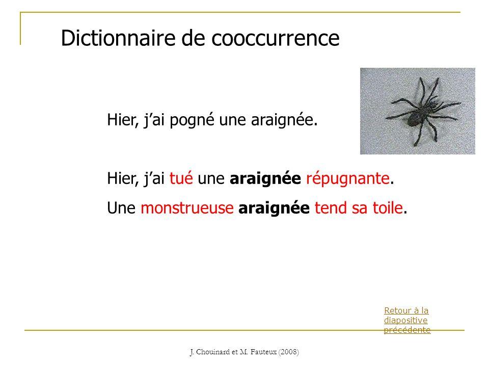 J. Chouinard et M. Fauteux (2008) Retour à la diapositive précédente Dictionnaire de cooccurrence Hier, jai pogné une araignée. Hier, jai tué une arai