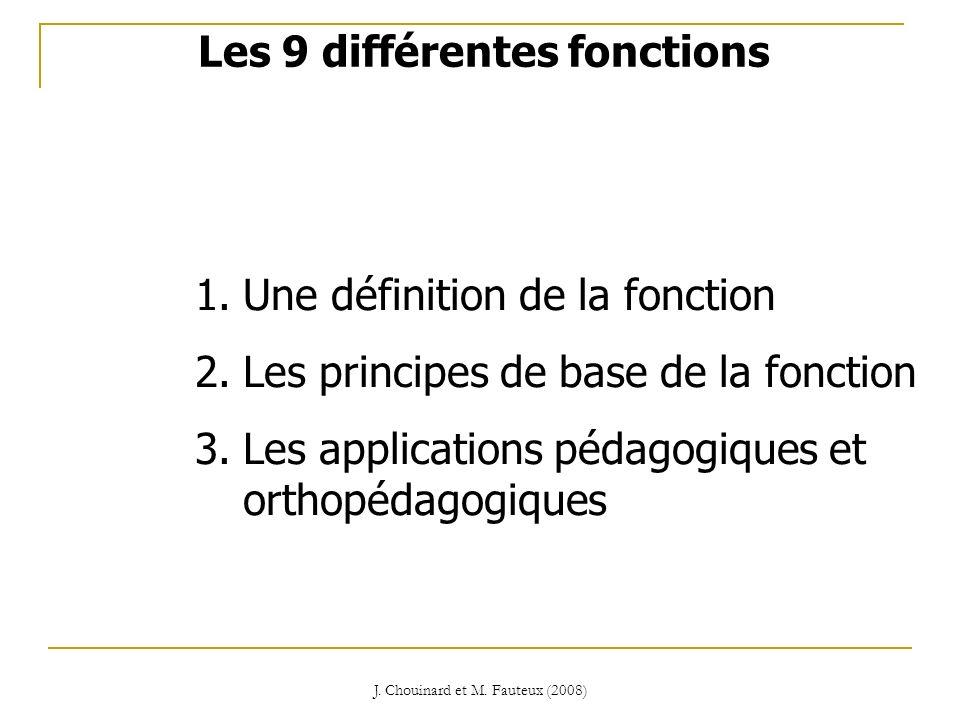 J. Chouinard et M. Fauteux (2008) 1.Une définition de la fonction 2.Les principes de base de la fonction 3.Les applications pédagogiques et orthopédag