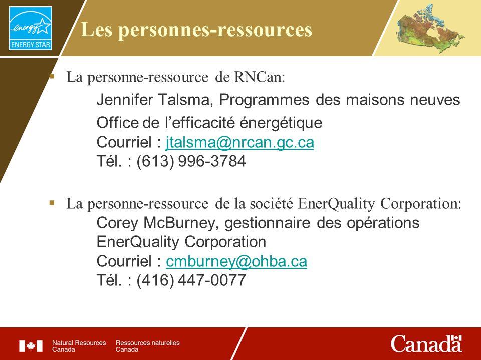 Les personnes-ressources La personne-ressource de RNCan: Jennifer Talsma, Programmes des maisons neuves Office de lefficacité énergétique Courriel : j