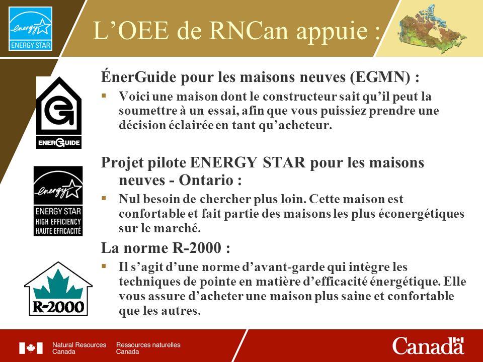 LOEE de RNCan appuie : ÉnerGuide pour les maisons neuves (EGMN) : Voici une maison dont le constructeur sait quil peut la soumettre à un essai, afin q