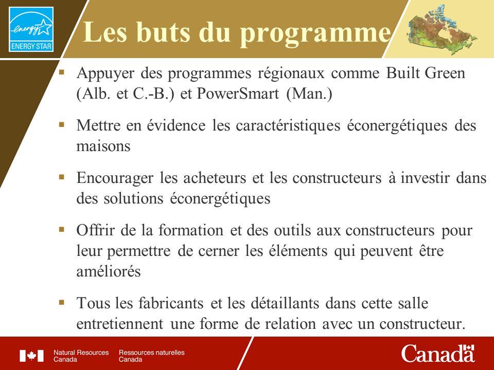 Les buts du programme Appuyer des programmes régionaux comme Built Green (Alb. et C.-B.) et PowerSmart (Man.) Mettre en évidence les caractéristiques