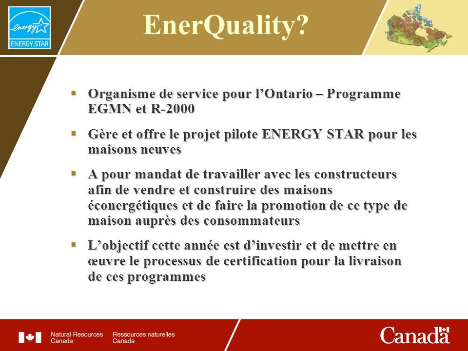 Le projet pilote Prolongé jusquau 31 mars 2007 Plus de 100 maisons étiquetées et 500 inscrites Plus de 80 constructeurs participants La cote moyenne EGMN est de 78 Incitatifs offerts par Enbridge Gas Distribution et la SCHL