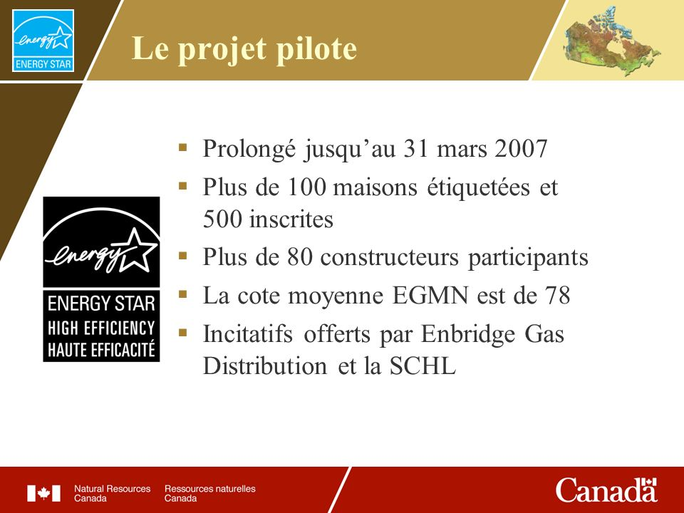 Le projet pilote Prolongé jusquau 31 mars 2007 Plus de 100 maisons étiquetées et 500 inscrites Plus de 80 constructeurs participants La cote moyenne E