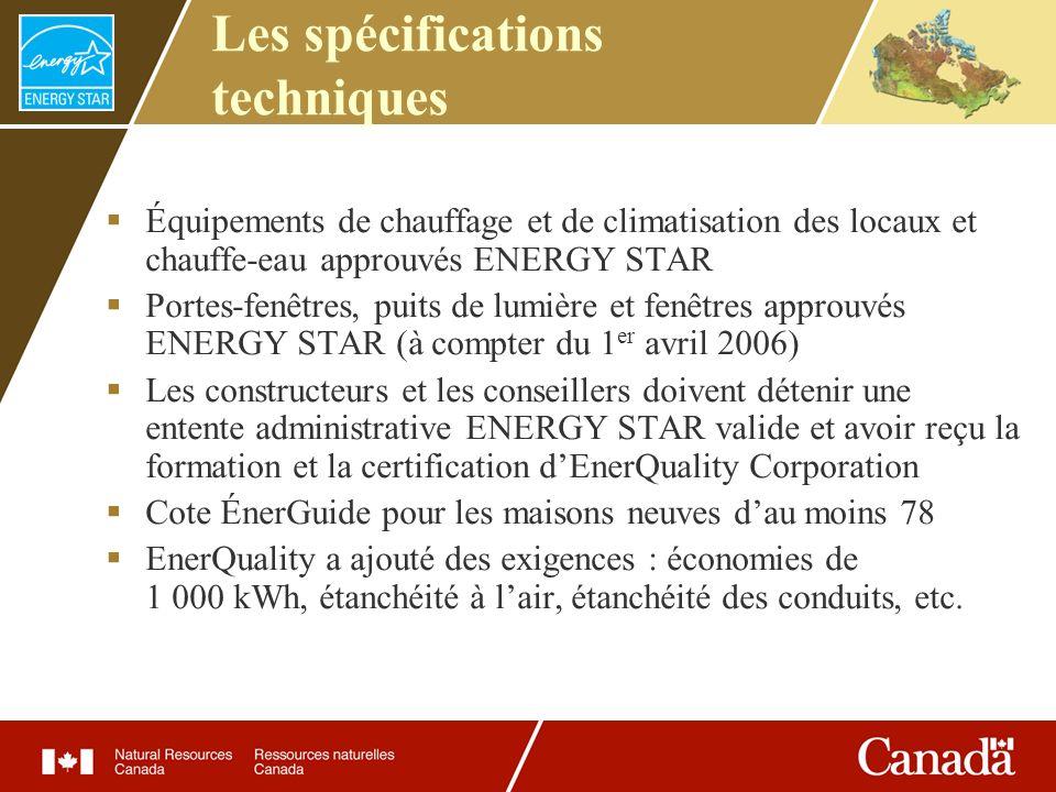 Les spécifications techniques Équipements de chauffage et de climatisation des locaux et chauffe-eau approuvés ENERGY STAR Portes-fenêtres, puits de l