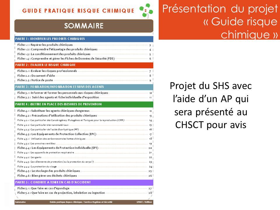 Présentation du projet « Guide risque chimique » Projet du SHS avec laide dun AP qui sera présenté au CHSCT pour avis