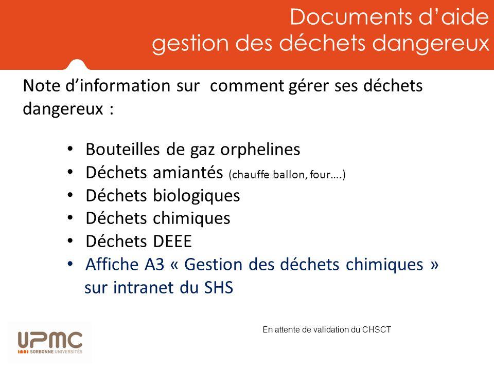 Documents daide gestion des déchets dangereux Bouteilles de gaz orphelines Déchets amiantés (chauffe ballon, four….) Déchets biologiques Déchets chimi