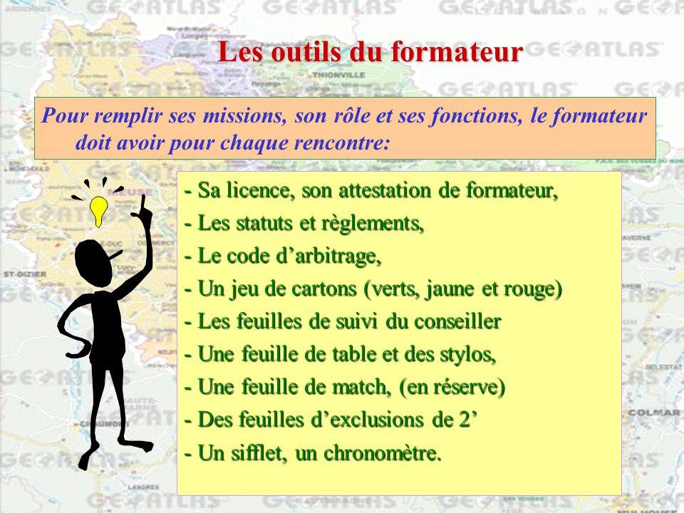 Pour remplir ses missions, son rôle et ses fonctions, le formateur doit avoir pour chaque rencontre: Les outils du formateur - Sa licence, son attesta