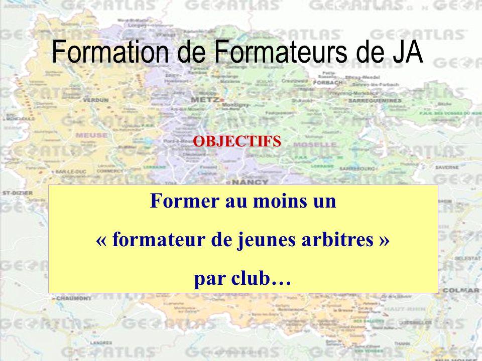 Formation de Formateurs de JA Peut être formateur de JA: Un joueur, Un entraîneur, Un arbitre, Un dirigeant du club, Un parent, Qui peut être formateur de JA .