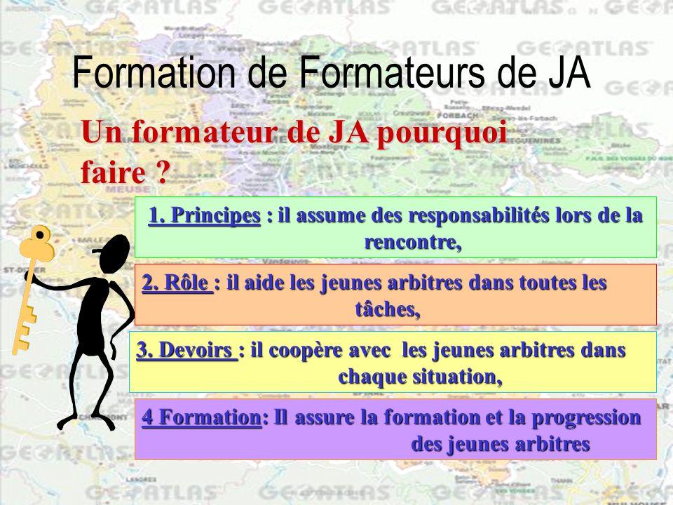 Formation de Formateurs de JA Le formateur accompagne les jeunes arbitres dans tous leurs arbitrages.