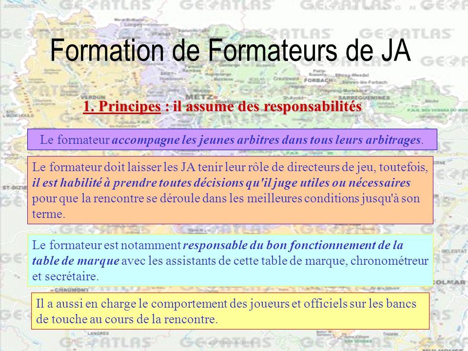 Formation de Formateurs de JA Le formateur accompagne les jeunes arbitres dans tous leurs arbitrages. 1. Principes :il assume des responsabilités 1. P