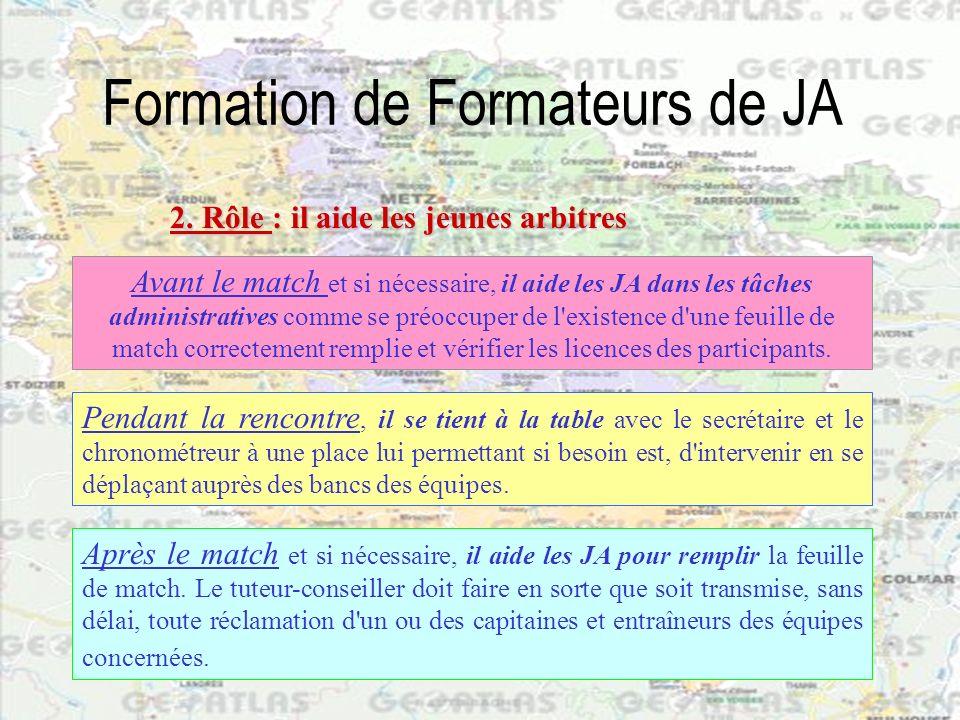 Formation de Formateurs de JA Avant le match et si nécessaire, il aide les JA dans les tâches administratives comme se préoccuper de l'existence d'une