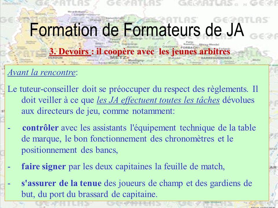 Formation de Formateurs de JA Avant la rencontre: Le tuteur-conseiller doit se préoccuper du respect des règlements. Il doit veiller à ce que les JA e