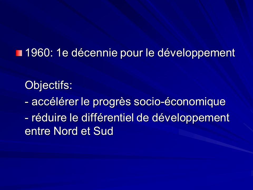 1960: 1e décennie pour le développement Objectifs: - accélérer le progrès socio-économique - réduire le différentiel de développement entre Nord et Sud