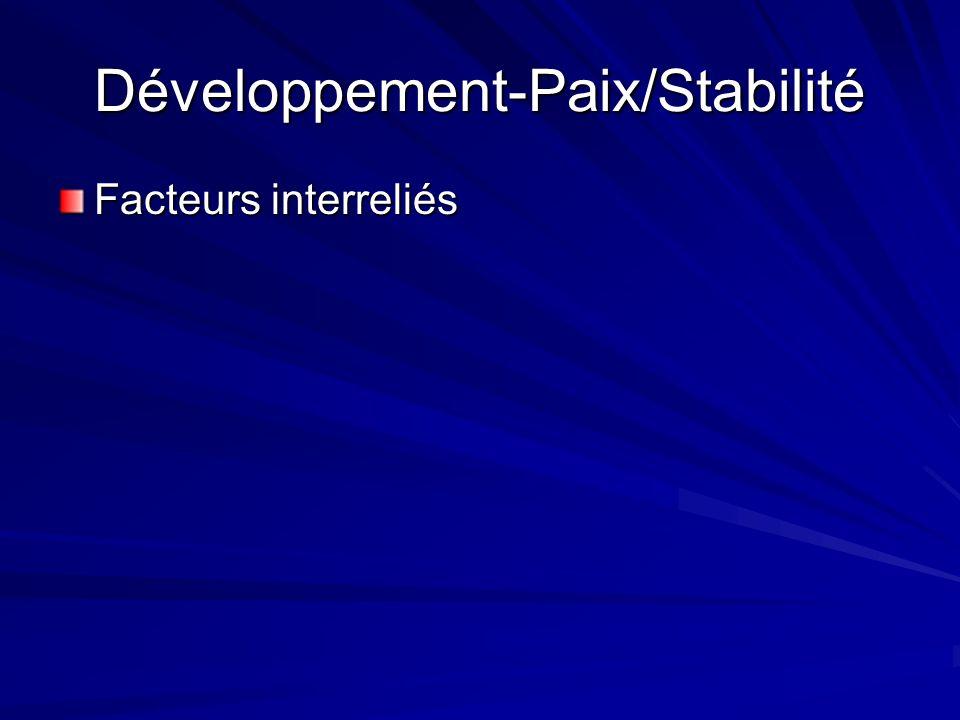 Développement-Paix/Stabilité Facteurs interreliés