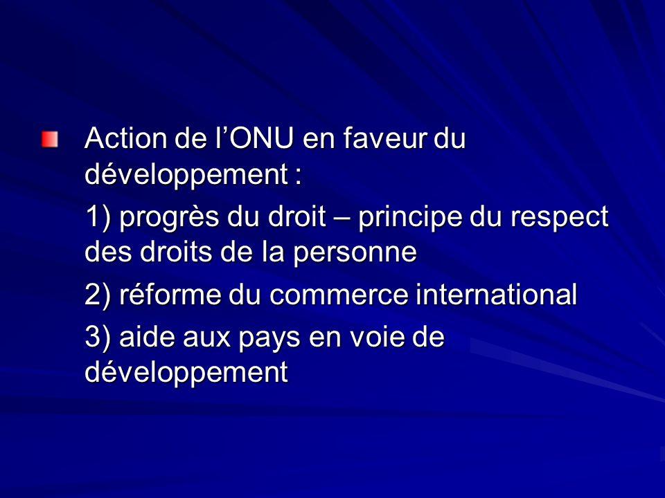 Action de lONU en faveur du développement : 1) progrès du droit – principe du respect des droits de la personne 2) réforme du commerce international 3) aide aux pays en voie de développement