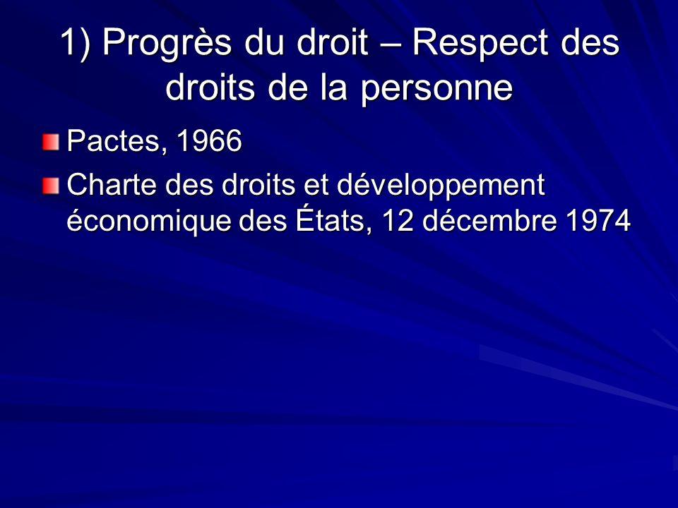1) Progrès du droit – Respect des droits de la personne Pactes, 1966 Charte des droits et développement économique des États, 12 décembre 1974