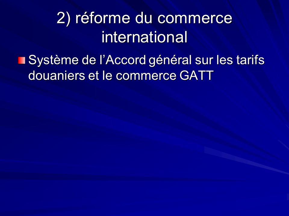 2) réforme du commerce international Système de lAccord général sur les tarifs douaniers et le commerce GATT