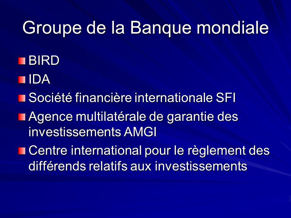Groupe de la Banque mondiale BIRDIDA Société financière internationale SFI Agence multilatérale de garantie des investissements AMGI Centre international pour le règlement des différends relatifs aux investissements