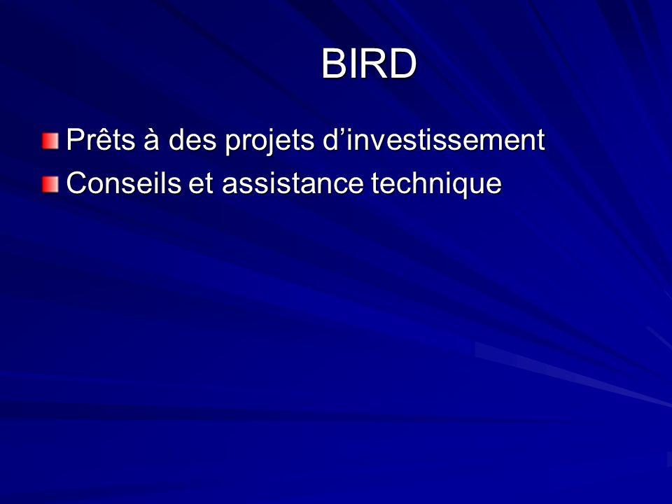 BIRD Prêts à des projets dinvestissement Conseils et assistance technique