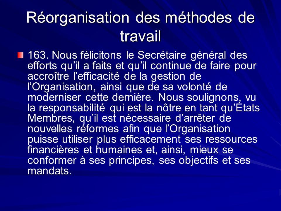 Réorganisation des méthodes de travail 163.