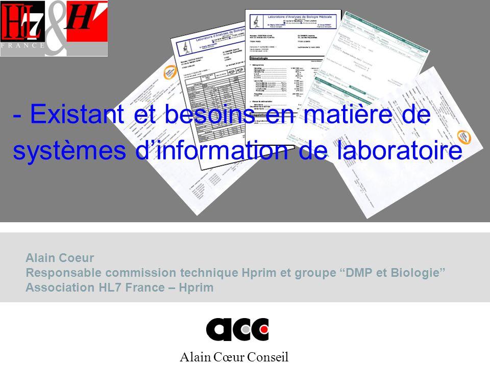 Alain Cœur Conseil Alain Coeur Responsable commission technique Hprim et groupe DMP et Biologie Association HL7 France – Hprim - Existant et besoins e