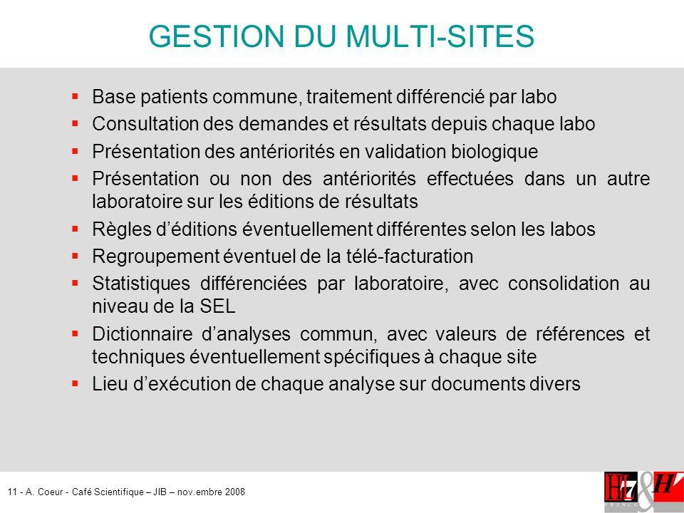 11 - A. Coeur - Café Scientifique – JIB – nov.embre 2008 GESTION DU MULTI-SITES Base patients commune, traitement différencié par labo Consultation de
