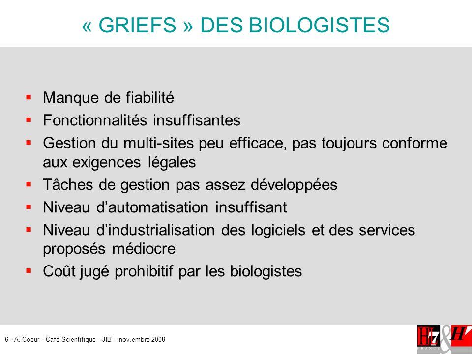 6 - A. Coeur - Café Scientifique – JIB – nov.embre 2008 « GRIEFS » DES BIOLOGISTES Manque de fiabilité Fonctionnalités insuffisantes Gestion du multi-