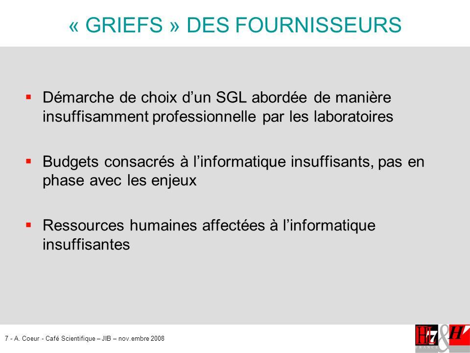 7 - A. Coeur - Café Scientifique – JIB – nov.embre 2008 « GRIEFS » DES FOURNISSEURS Démarche de choix dun SGL abordée de manière insuffisamment profes