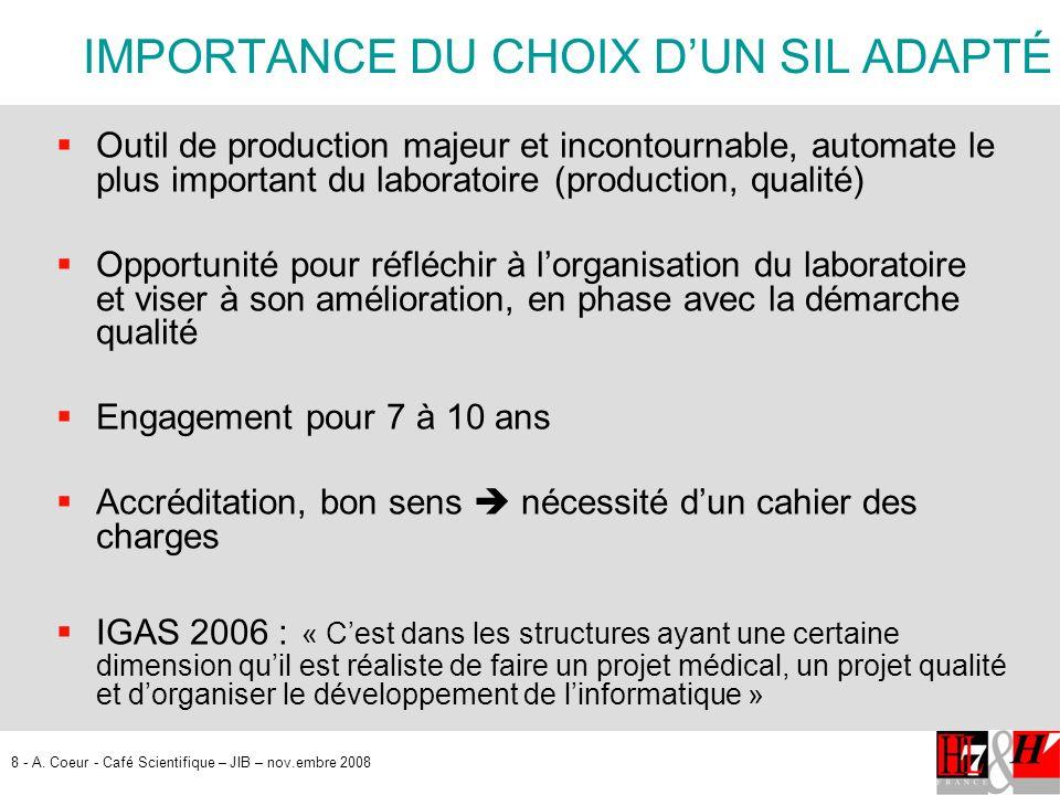 8 - A. Coeur - Café Scientifique – JIB – nov.embre 2008 IMPORTANCE DU CHOIX DUN SIL ADAPTÉ Outil de production majeur et incontournable, automate le p