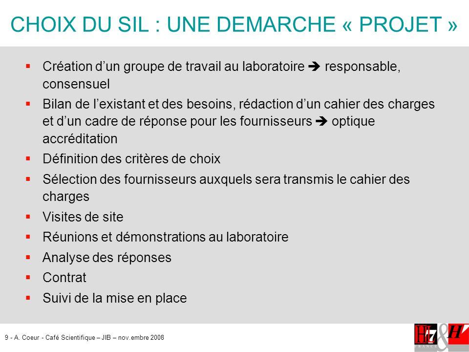 9 - A. Coeur - Café Scientifique – JIB – nov.embre 2008 CHOIX DU SIL : UNE DEMARCHE « PROJET » Création dun groupe de travail au laboratoire responsab