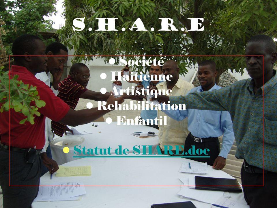 S.H.A.R.E Société Haitienne Artistique Rehabilitation Enfantil Statut de SHARE.doc