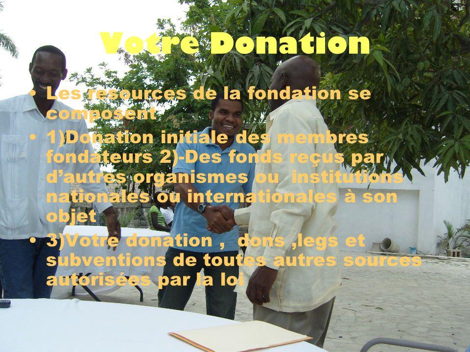 Votre Donation Les resources de la fondation se composent 1)Donation initiale des membres fondateurs 2)-Des fonds reçus par dautres organismes ou institutions nationales ou internationales à son objet 3)Votre donation, dons,legs et subventions de toutes autres sources autorisées par la loi