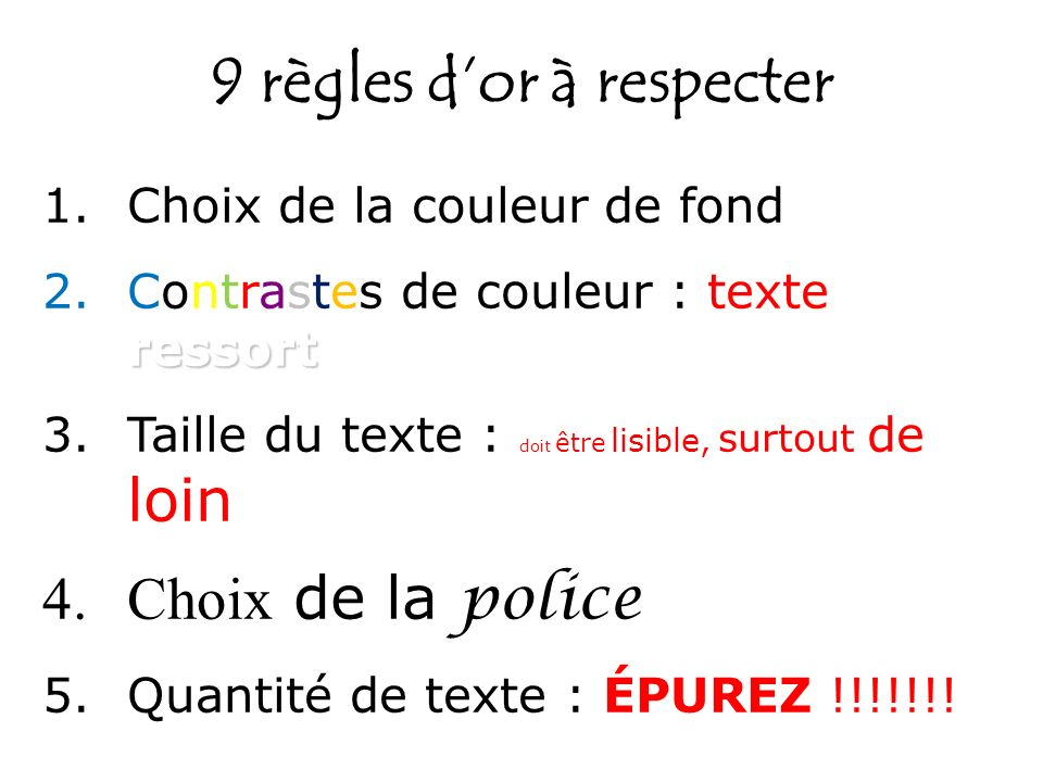 9 règles dor à respecter 1.Choix de la couleur de fond ressort 2.Contrastes de couleur : texte ressort 3.Taille du texte : doit être lisible, surtout
