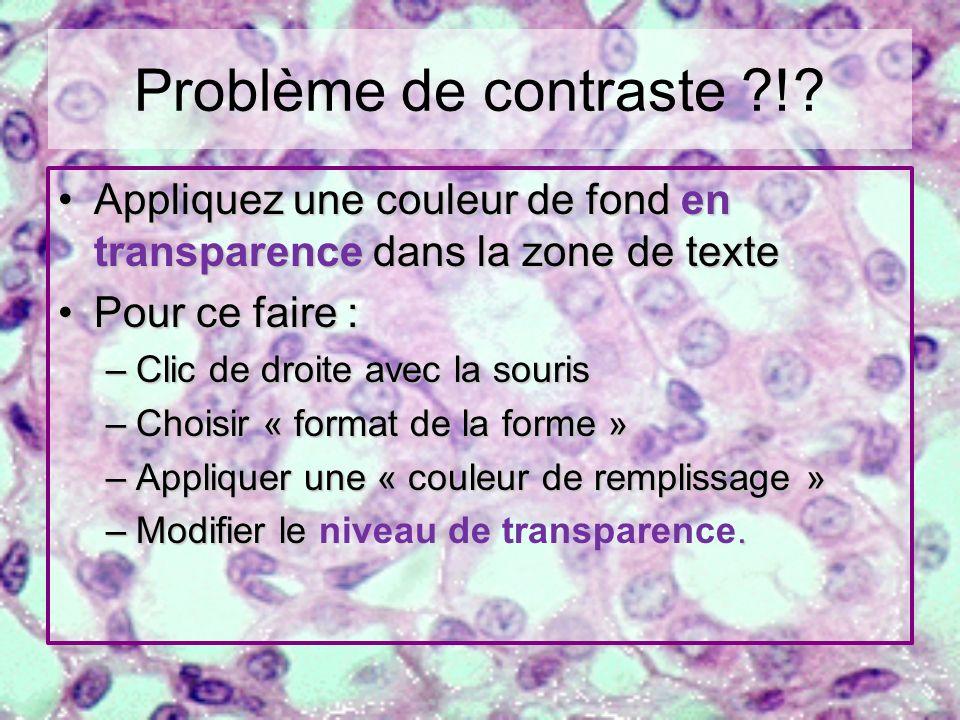Problème de contraste ?!? Appliquez une couleur de fond en transparence dans la zone de texteAppliquez une couleur de fond en transparence dans la zon