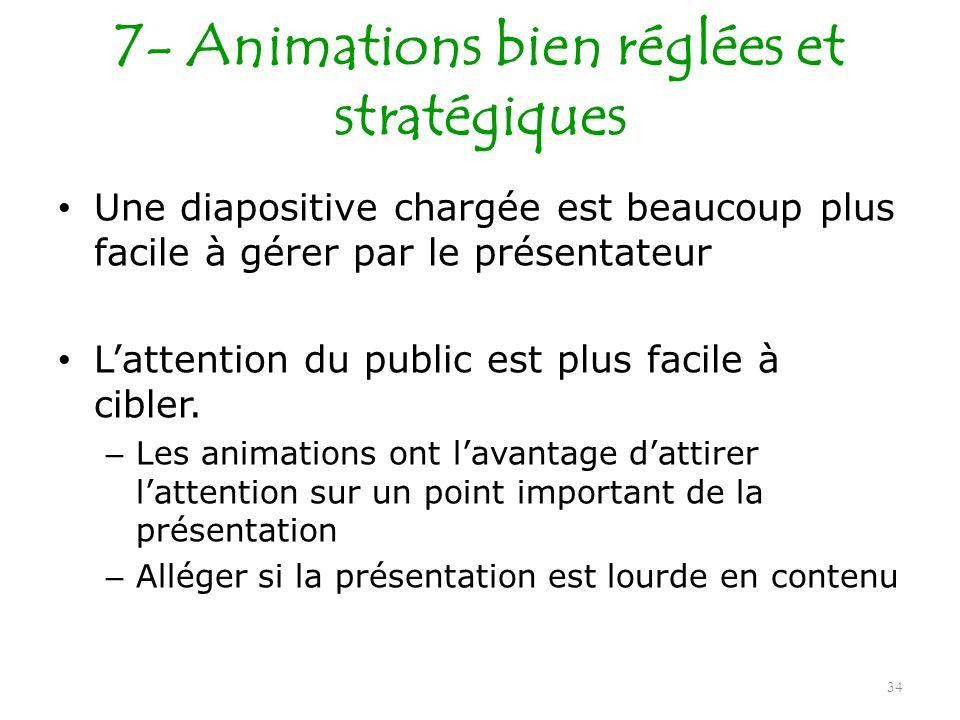 7- Animations bien réglées et stratégiques Une diapositive chargée est beaucoup plus facile à gérer par le présentateur Lattention du public est plus