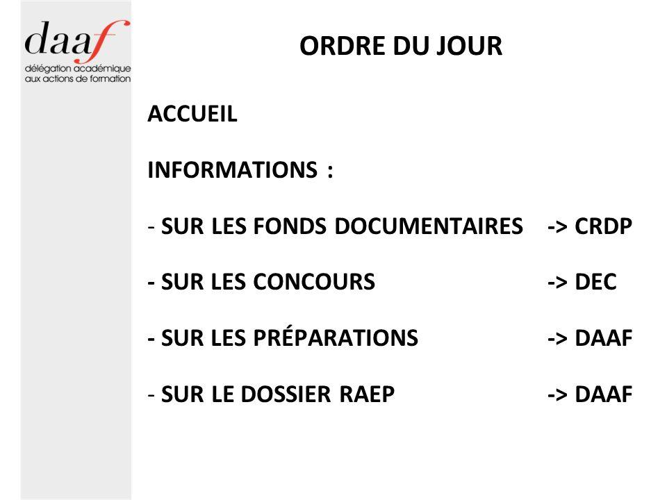 INFORMATION PRÉPARATIONS Organisation : Plannings -Séquences hebdomadaires -Hors temps de présence en établissement (à négocier avec le chef détablissement) -Assiduité et annulation Se faire excuser et annuler auprès de : ce.daaf@ac-grenoble.fr et du responsable de la préparation -Disponible sur http://www.ac-grenoble.fr/daafhttp://www.ac-grenoble.fr/daaf Rubrique : Préparations aux concours Conseil : Mettre en favori et actualiser régulièrement