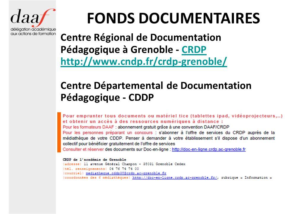 FONDS DOCUMENTAIRES Centre Régional de Documentation Pédagogique à Grenoble - CRDPCRDP http://www.cndp.fr/crdp-grenoble/ Centre Départemental de Docum