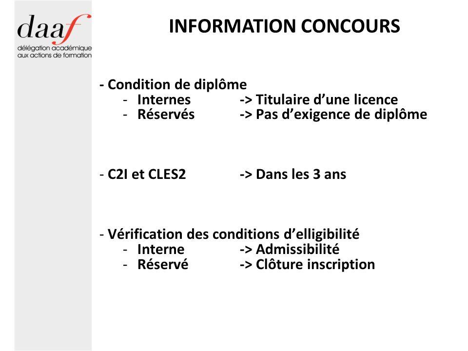 INFORMATION CONCOURS - Condition de diplôme -Internes -> Titulaire dune licence -Réservés-> Pas dexigence de diplôme - C2I et CLES2 -> Dans les 3 ans